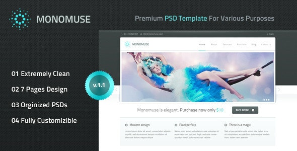 Monomuse - Premium PSD Template - Creative Photoshop