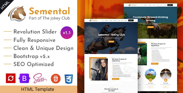 Stud Farms & Stables HTML Template - Semental - Business Corporate