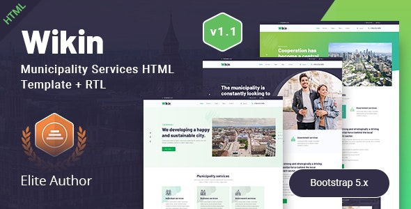 City Government & Municipality Services HTML Template - Wikin - Political Nonprofit