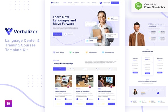 Verbalizer – Language Courses & Learning Center Elementor Template Kit - Education Elementor