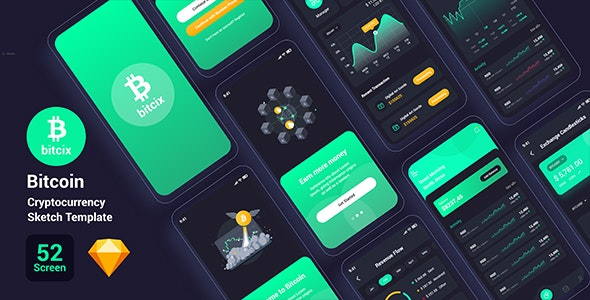 Bitcix – Bitcoin Cryptocurrency Sketch Template - Technology Sketch