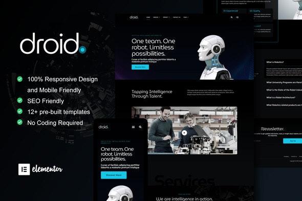 Droid - Robotics & Technology Services Elementor Template Kit - Technology & Apps Elementor