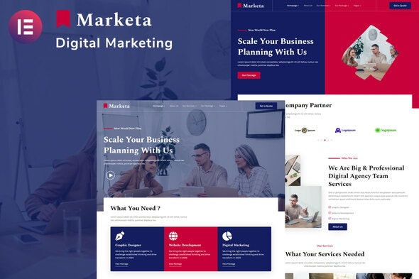Marketa - Digital Agency Business Services Elementor Template Kit - Business & Services Elementor