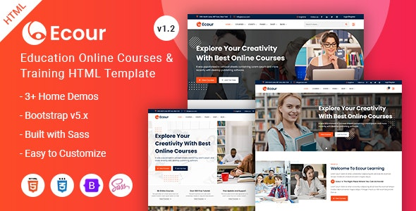Education Courses & Training HTML Template - Ecour - Business Corporate