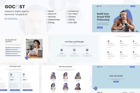 Gocast - Podcast & Digital Agency Template Kit - Business & Services Elementor