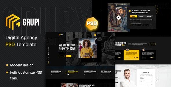 Grupi - Digital Agency PSD Template - Business Corporate