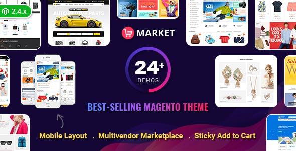 Market - Multistore Responsive Magento Theme with Mobile-Specific Layout (24 HomePages)