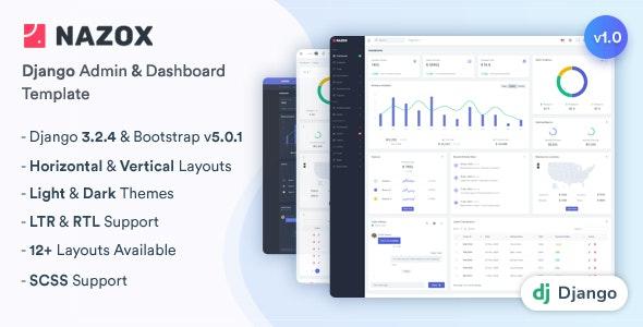Nazox - Django Admin & Dashboard Template - Admin Templates Site Templates