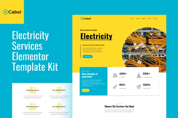 Cabel - Electricity Services Elementor Template Kit - Business & Services Elementor