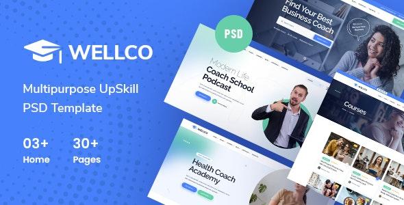 Wellco - Coaching & Speaker PSD Template - Business Corporate