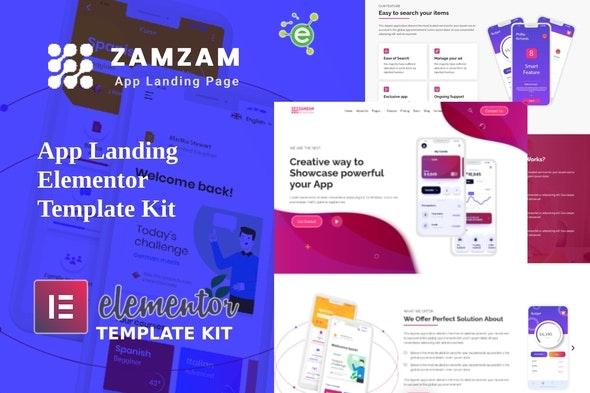 Zamzam - App Landing Elementor Template Kit - Technology & Apps Elementor