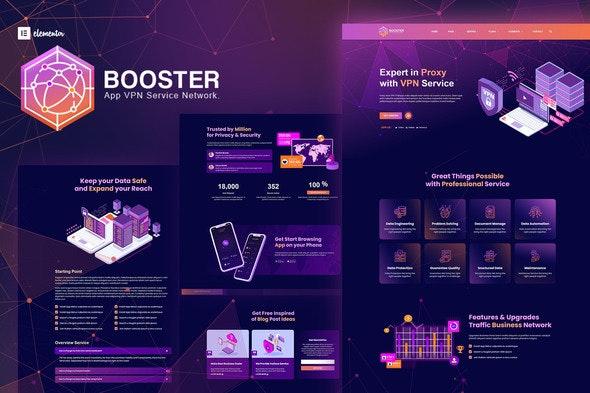 Booster - Proxy & App VPN Service Elementor Template Kit - Technology & Apps Elementor