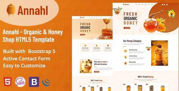 Annahl - Organic & Honey Shop HTML5 Template - Food Retail