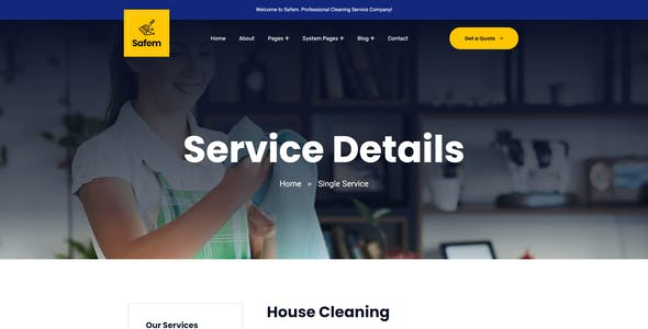 Safem - HubSpot Theme for Cleaning Service Agency