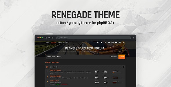 Renegade - Action / Gaming Responsive phpBB 3.3 Theme - PhpBB Forums