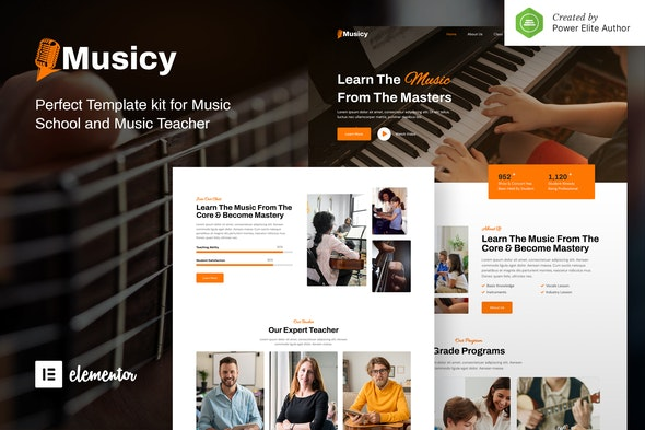 Musicy – Music School Elementor Template Kit - Music & Bands Elementor