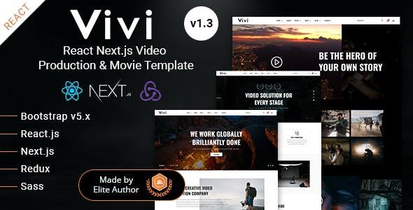 React Next.js Video Production & Movie Template - Vivi