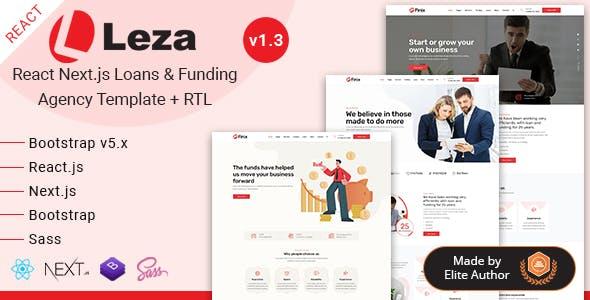 React Next Loans & Funding Agency Template - Leza
