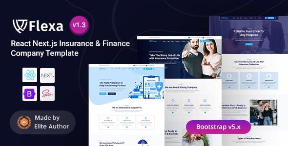 React Next Insurance & Finance Company Template - Flexa