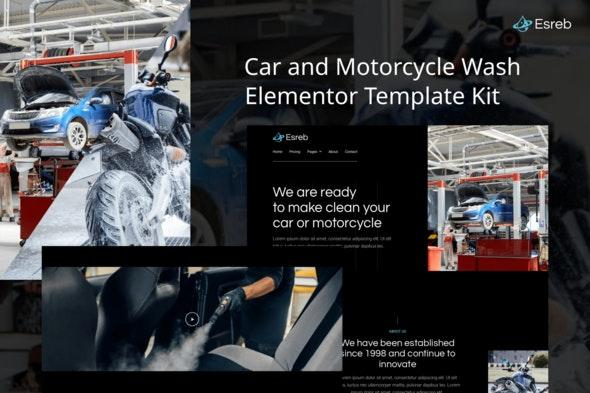 Esreb - Car & Motorcycle Wash Elementor Template Kit - Business & Services Elementor