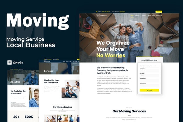 Moving Service - Local Business Elementor Template Kit - Business & Services Elementor