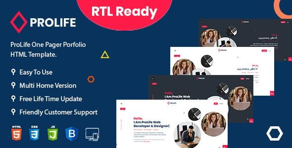 ProLife – Personal Portfolio HTML Template - Portfolio Creative