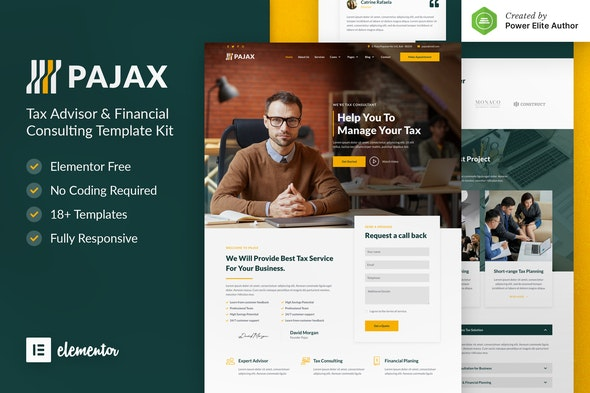 Pajax – Tax Advisor & Financial Consulting Elementor Template Kit - Business & Services Elementor