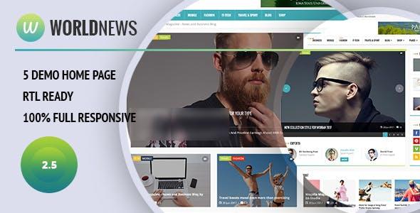 WorldNews - Magazine  RTL Responsive WordPress