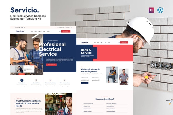 Servicio - Electrician & Electrical Services Template Kit - Business & Services Elementor