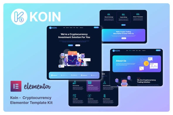 Koin - Cryptocurrency Elementor Template Kit - Business & Services Elementor