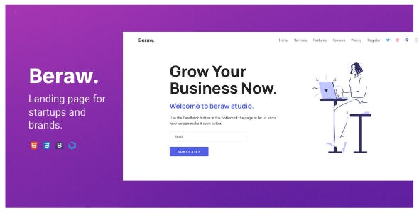 Beraw — A Clean One Page Landing Template for Statups and Businesses