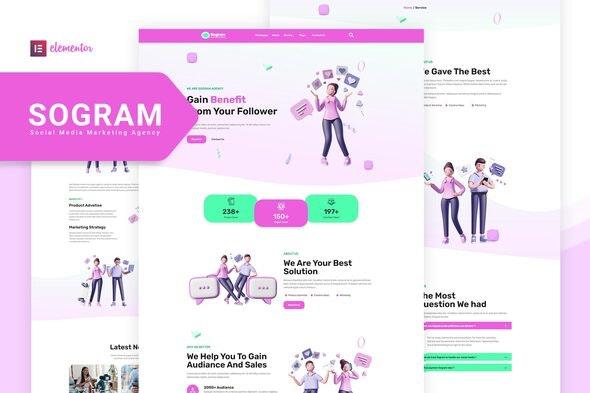 Sogram - Social Media Marketing Agency Elementor Template Kit - Business & Services Elementor