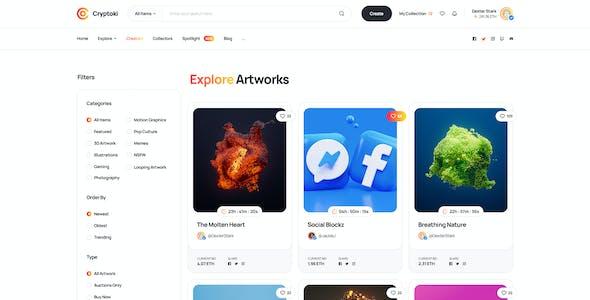 Cryptoki - NFT Digital Marketplace PSD Template