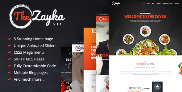 The Zayka - Multipurpose Restaurant & Cafe HTML5 Template - Restaurants & Cafes Entertainment