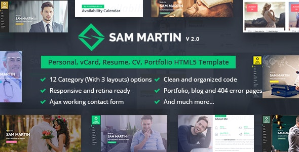 Sam Martin - Personal vCard Resume HTML Template - Personal Site Templates