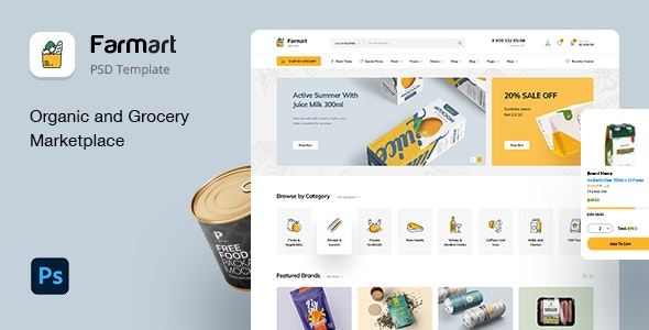 Farmart - Organic & Grocery Marketplace eCommerce PSD Template - Food Retail