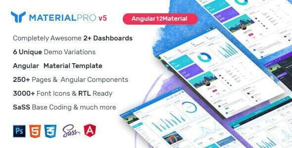 MaterialPro Angular 12 Admin Template - Admin Templates Site Templates