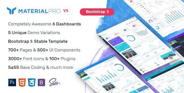 MaterialPro - Material Design Bootstrap 5 Admin Template - Admin Templates Site Templates
