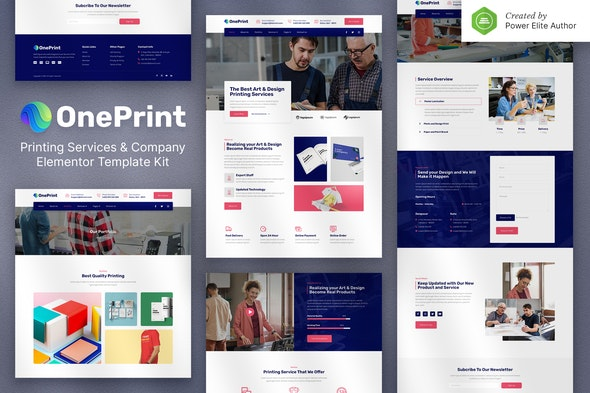 OnePrint – Printing Services Company Elementor Template Kit - Business & Services Elementor