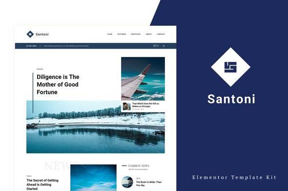 Santoni - Blog & Magazine Elementor Template Kit - News & Magazines Elementor