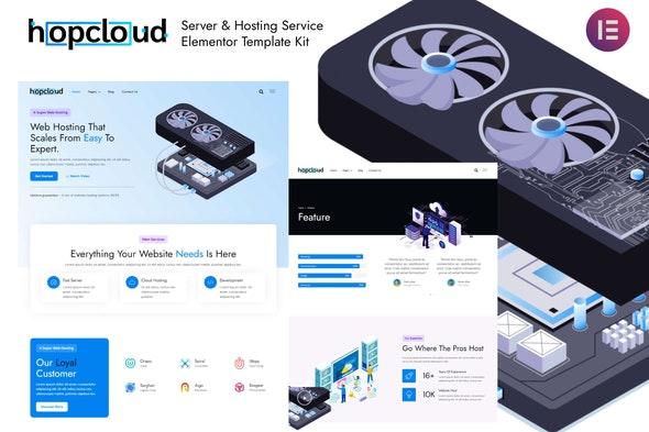 Hopcloud - Server & Hosting Service Elementor Template Kit - Technology & Apps Elementor