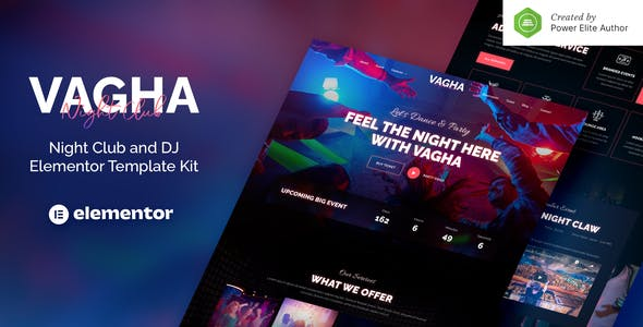 Vagha – Night Club & DJ Elementor Template Kit