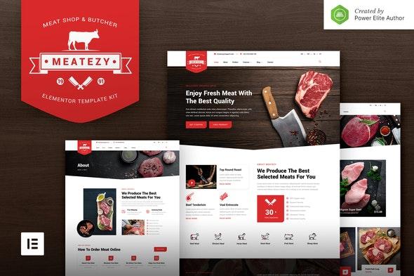 Meatezy – Meat Shop & Butcher Elementor Template Kit - Food & Drink Elementor