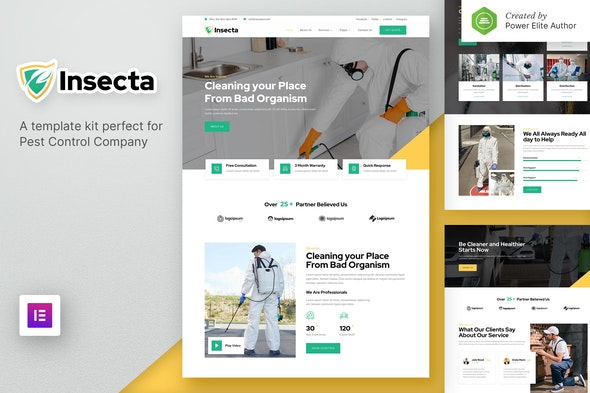 Insecta – Pest Control & Disinfection Elementor Template Kit - Business & Services Elementor