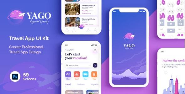 YAGO | Travel App UI Kit for Photoshop - Travel Retail