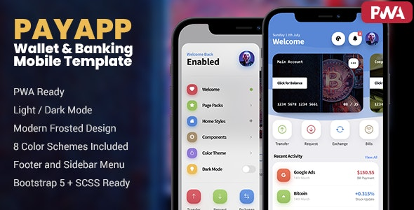 PayApp - Wallet & Banking PWA Mobile Template - Mobile Site Templates