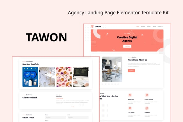 Tawon - Agency Landing Page Elementor Template Kit - Business & Services Elementor