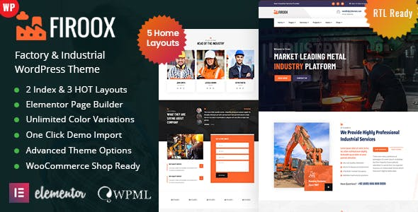 Firoox - Factory Industrial WordPress Theme