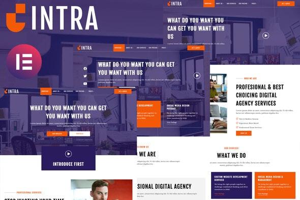Intra - Modern Digital Agency Elementor Template Kit - Creative & Design Elementor