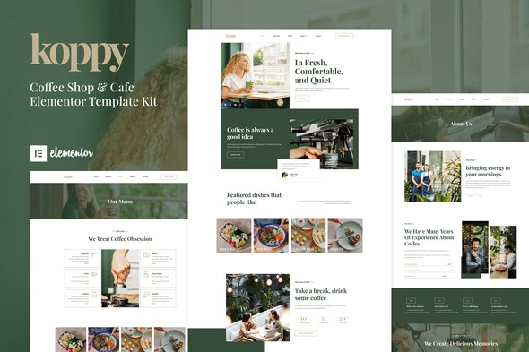 Koppy - Coffee Shop & Cafe Elementor Template Kit - Food & Drink Elementor